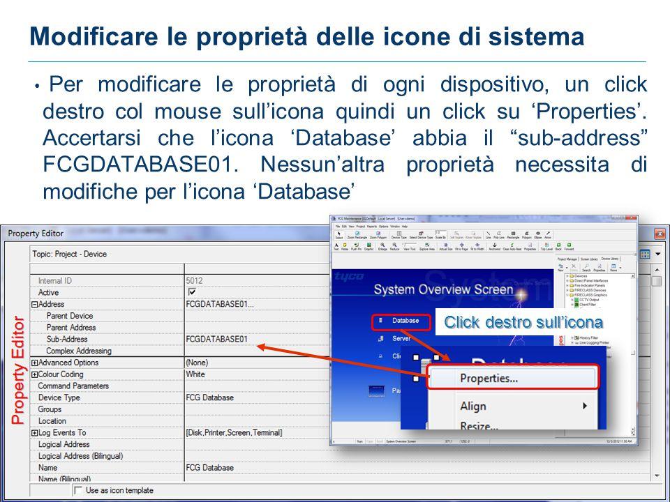 Modificare le proprietà delle icone di sistema