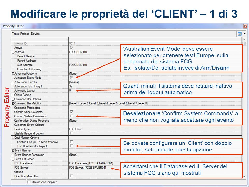 Modificare le proprietà del 'CLIENT' – 1 di 3
