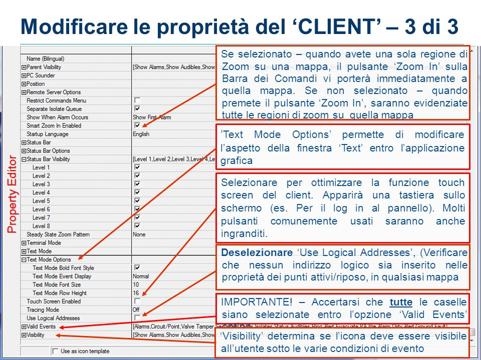 Modificare le proprietà del 'CLIENT' – 3 di 3