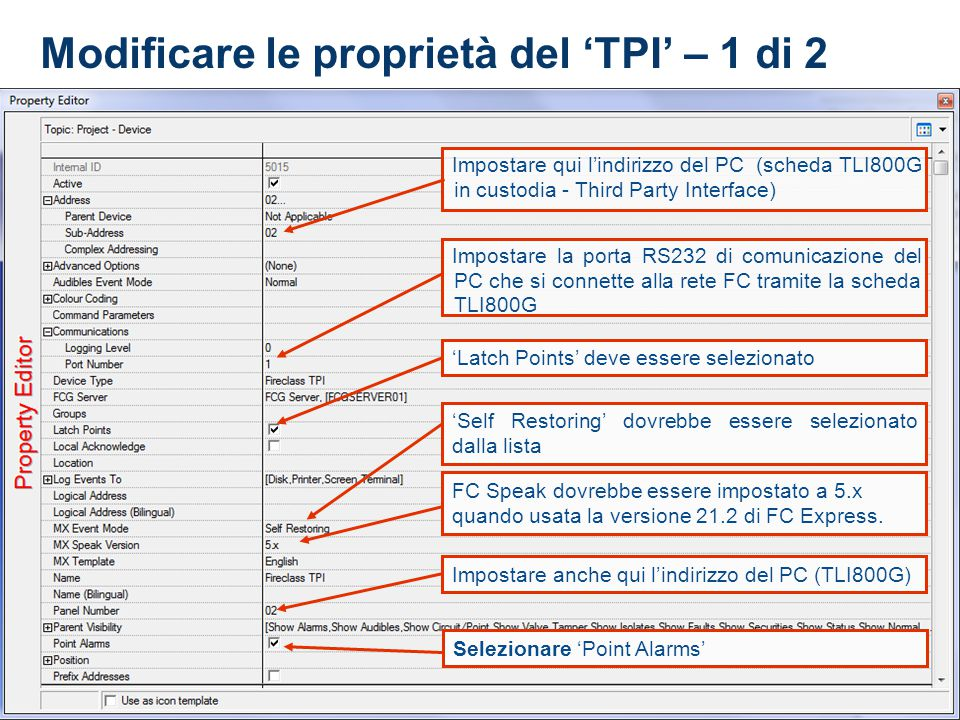 Modificare le proprietà del 'TPI' – 1 di 2