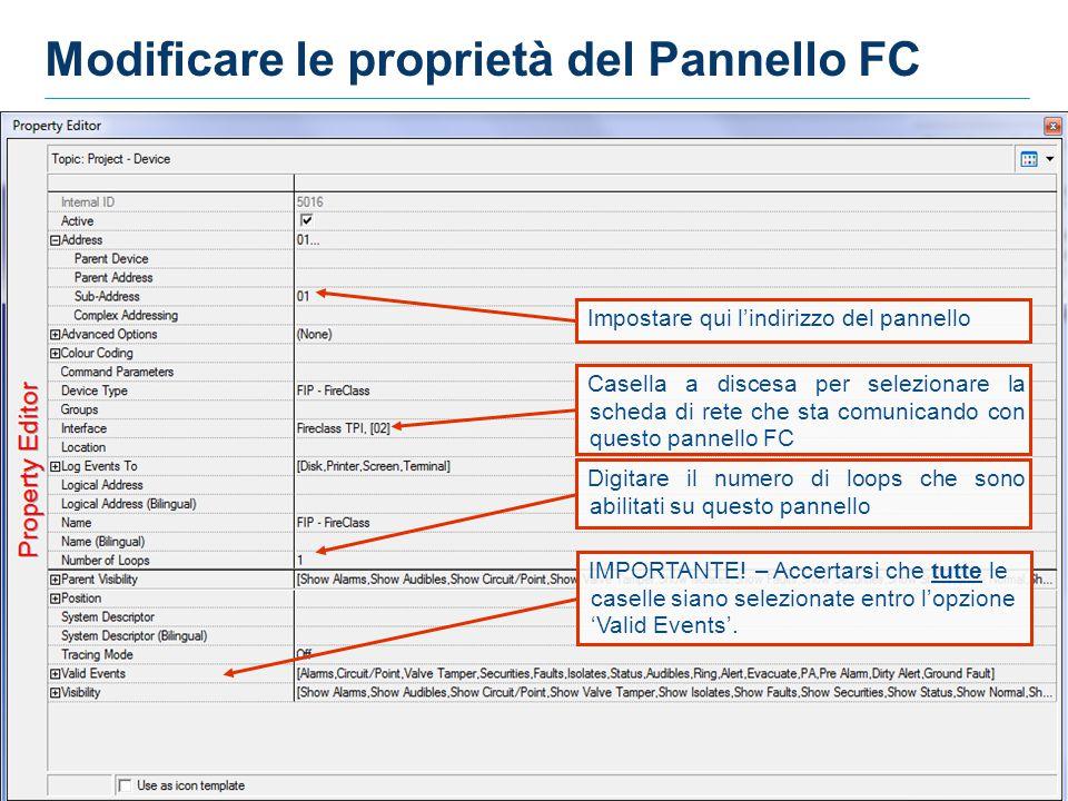 Modificare le proprietà del Pannello FC