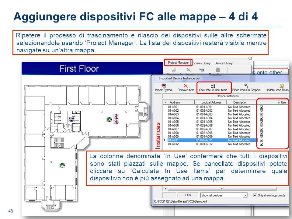 Aggiungere dispositivi FC alle mappe – 4 di 4