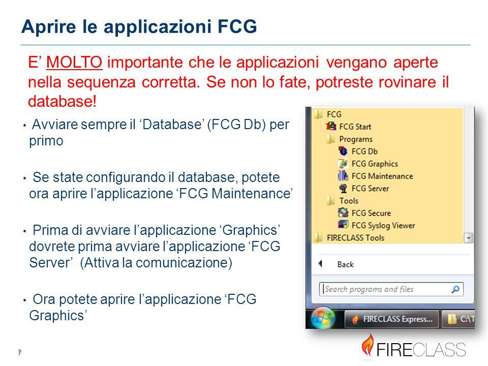 Aprire le applicazioni FCG