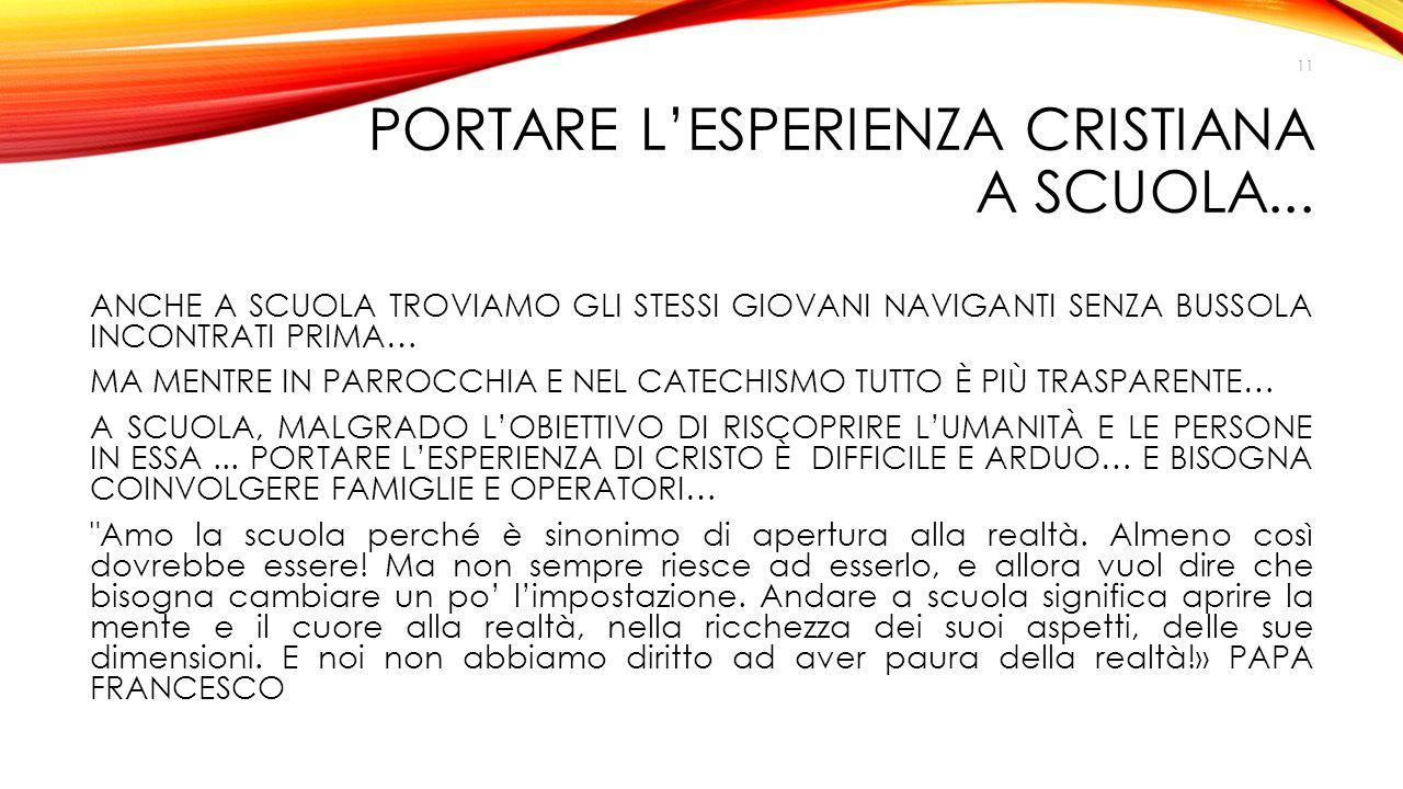 PORTARE L'ESPERIENZA CRISTIANA A SCUOLA...