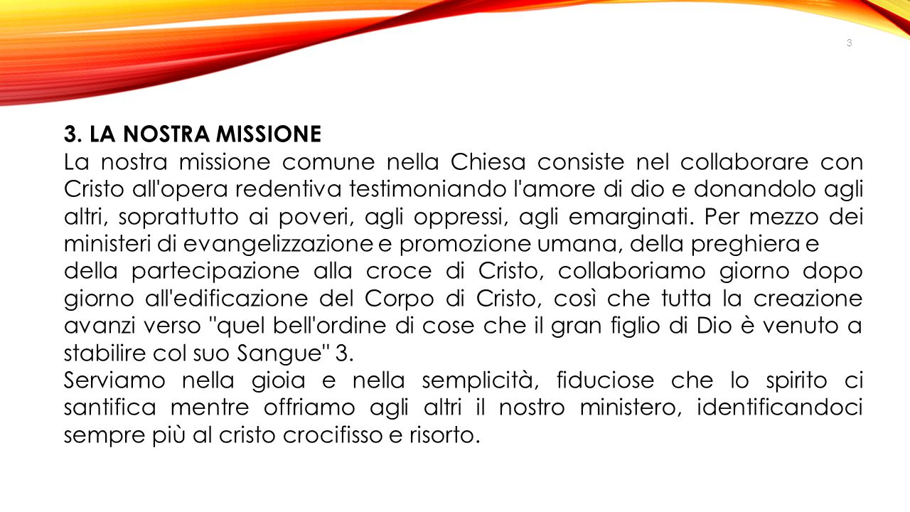 3. LA NOSTRA MISSIONE