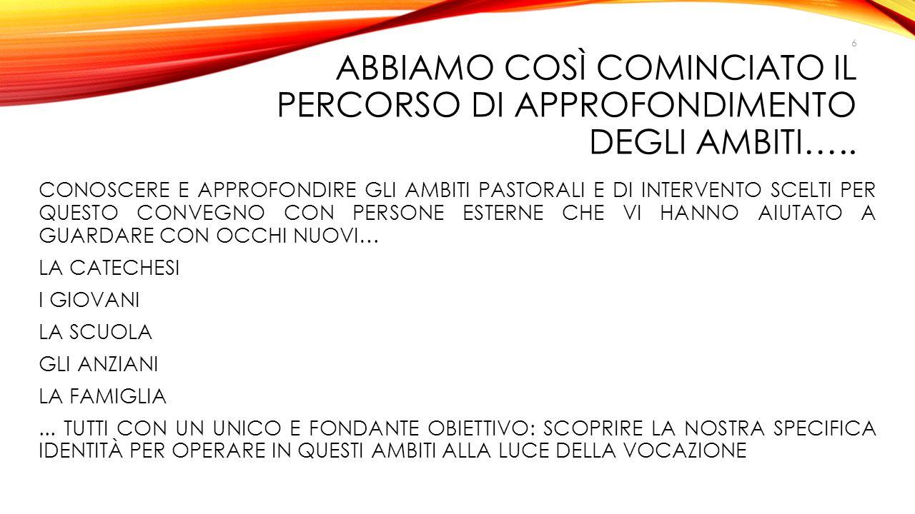 ABBIAMO COSì COMINCIATO IL PERCORSO DI APPROFONDIMENTO DEGLI AMBITI…..
