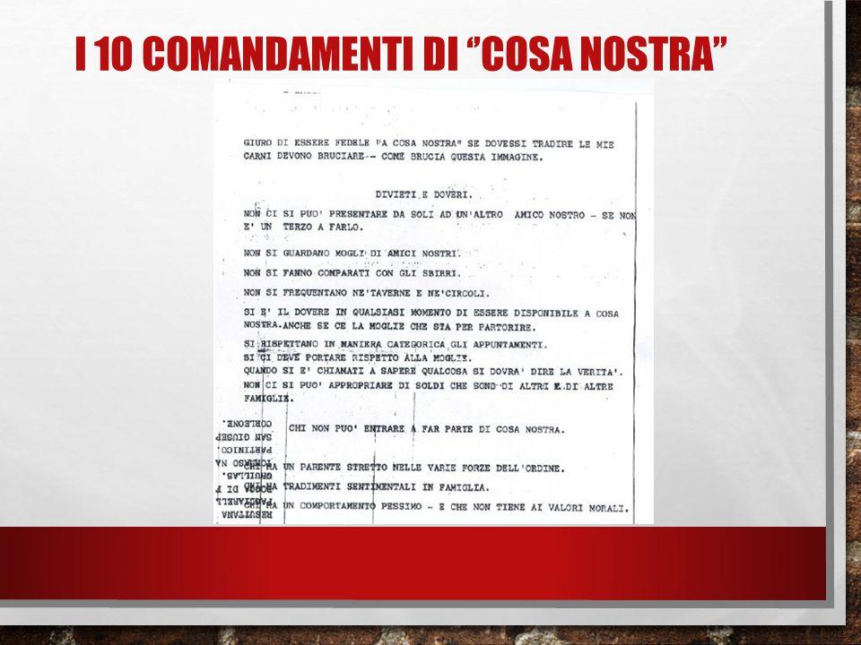 I 10 comandamenti di ''cosa nostra''