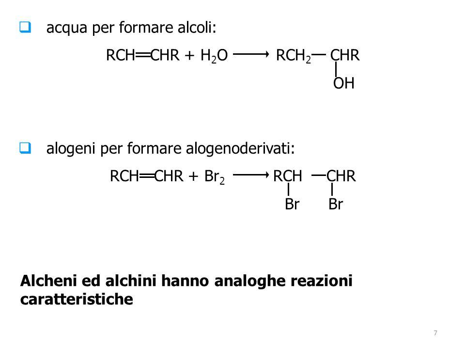 acqua per formare alcoli: