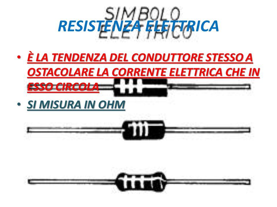 RESISTENZA ELETTRICA È LA TENDENZA DEL CONDUTTORE STESSO A OSTACOLARE LA CORRENTE ELETTRICA CHE IN ESSO CIRCOLA.