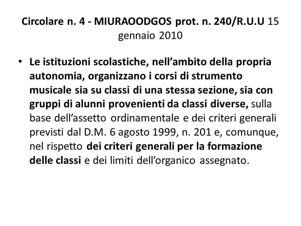 Circolare n. 4 - MIURAOODGOS prot. n. 240/R.U.U 15 gennaio 2010