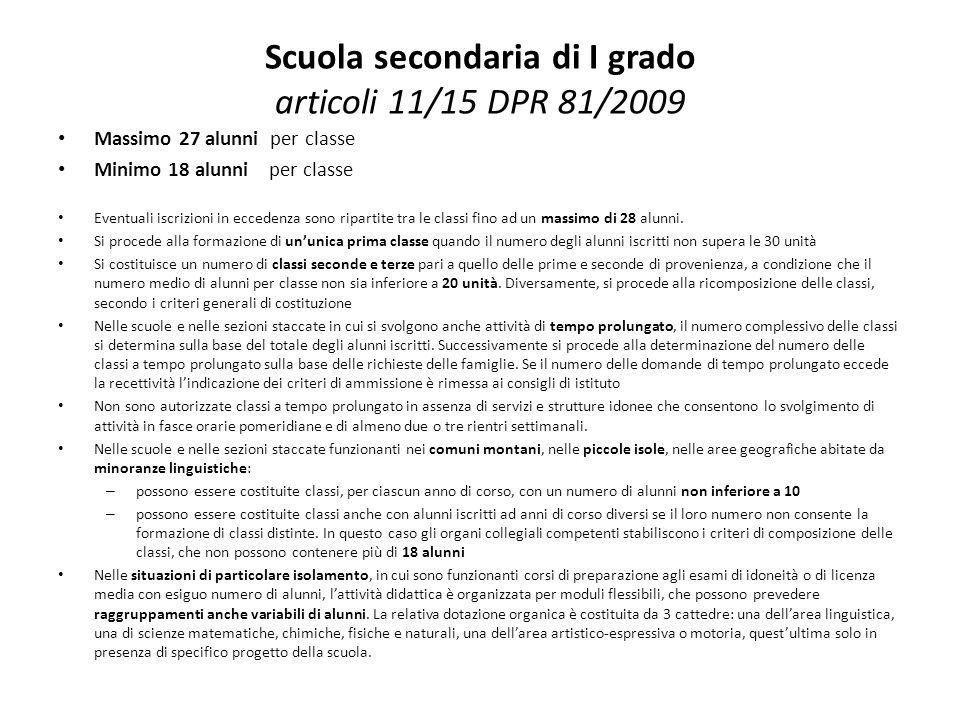 Scuola secondaria di I grado articoli 11/15 DPR 81/2009