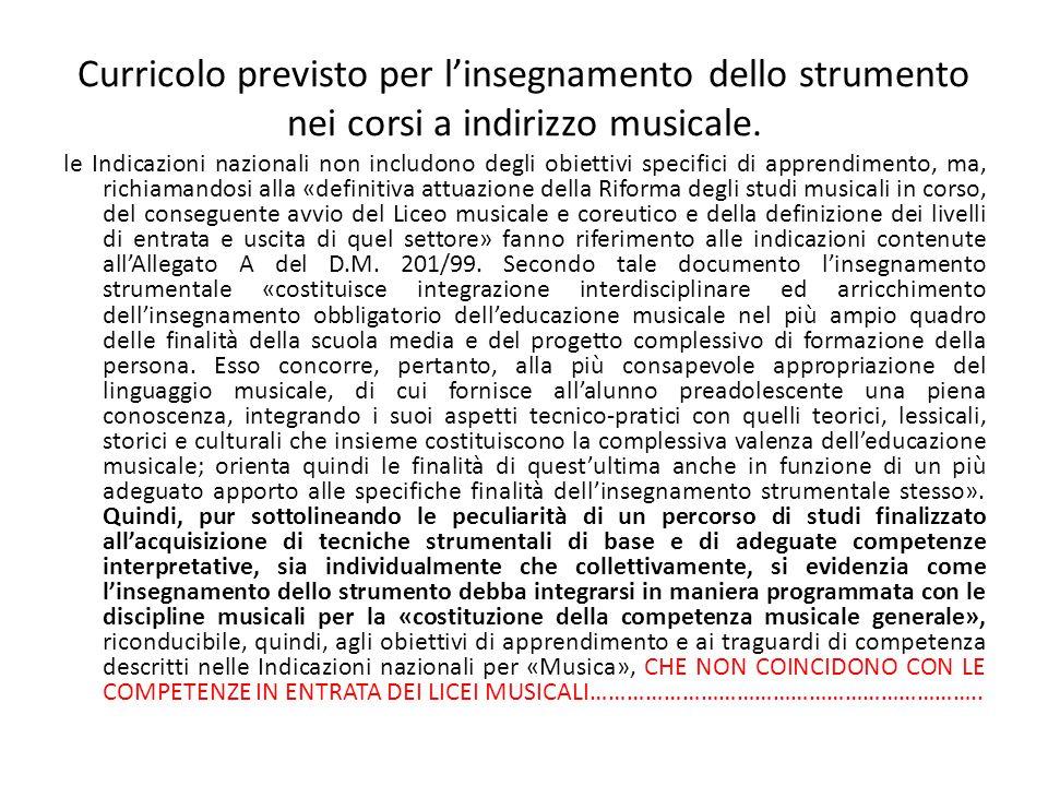 Curricolo previsto per l'insegnamento dello strumento nei corsi a indirizzo musicale.