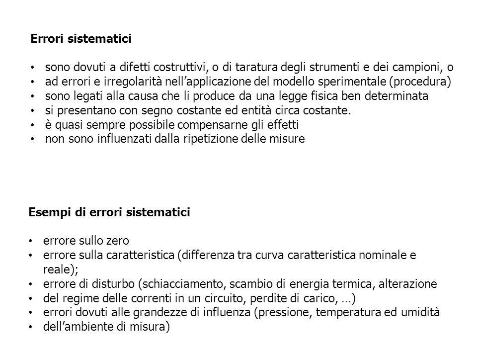 Errori sistematici sono dovuti a difetti costruttivi, o di taratura degli strumenti e dei campioni, o.