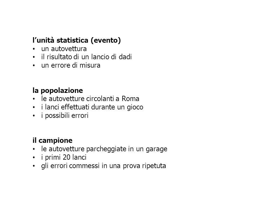 l'unità statistica (evento)