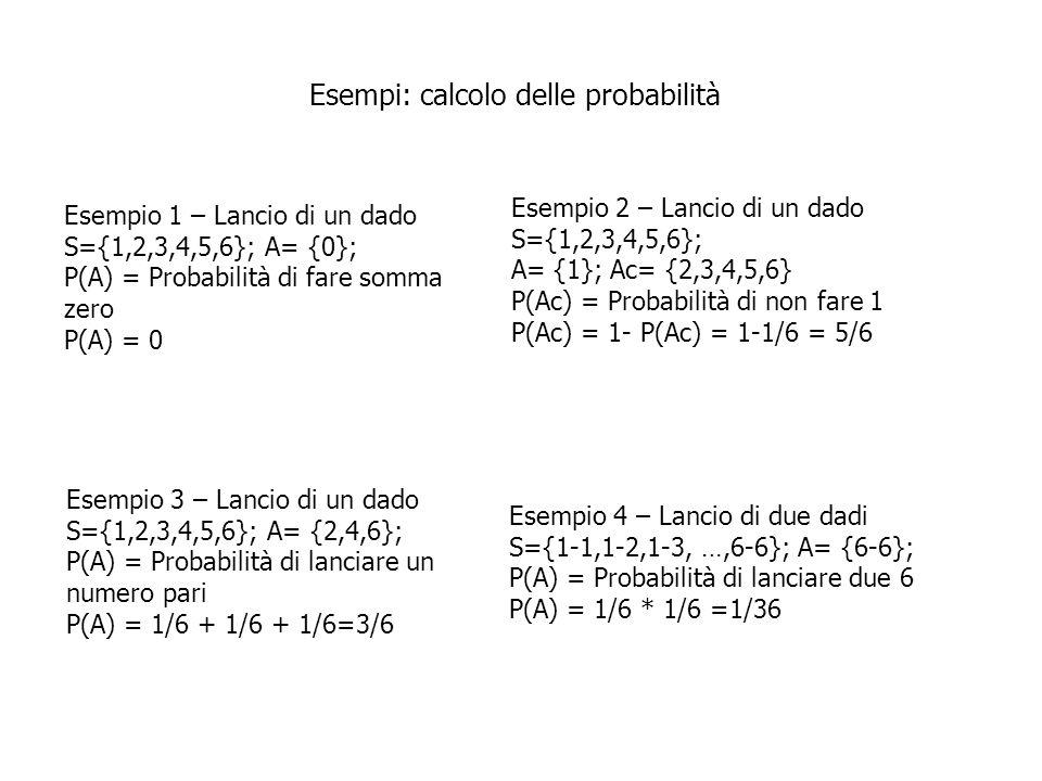 Esempi: calcolo delle probabilità