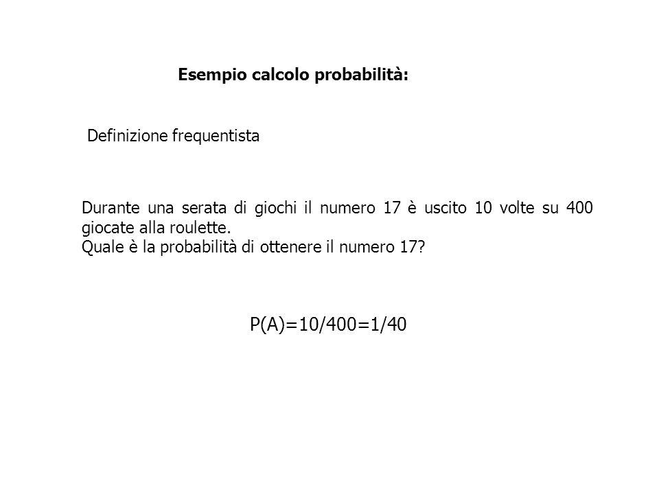 P(A)=10/400=1/40 Esempio calcolo probabilità: Definizione frequentista