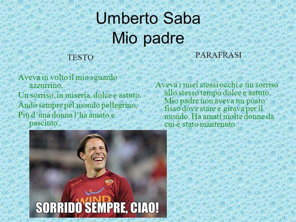 Umberto Saba Mio padre PARAFRASI TESTO
