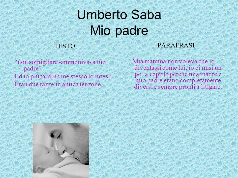 Umberto Saba Mio padre TESTO PARAFRASI