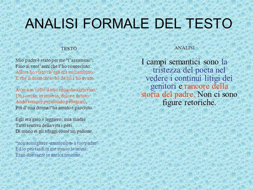 ANALISI FORMALE DEL TESTO