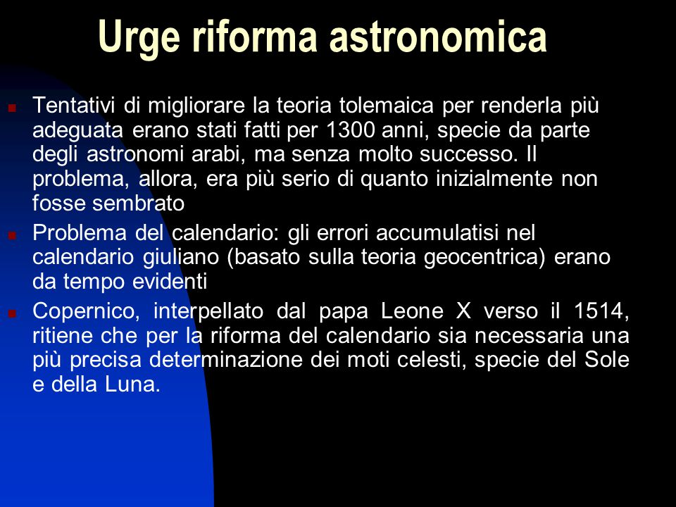 Urge riforma astronomica
