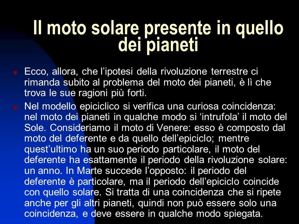 Il moto solare presente in quello dei pianeti