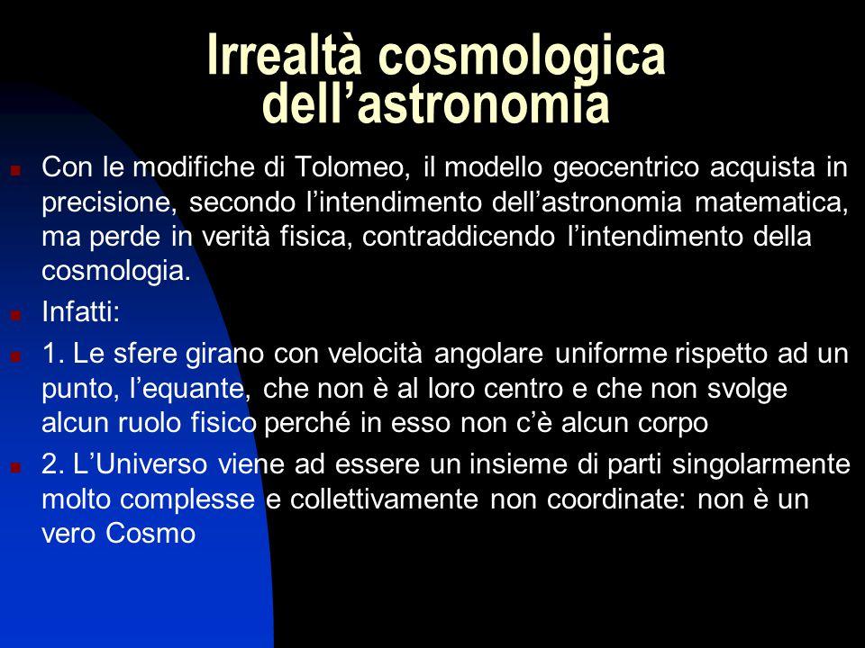 Irrealtà cosmologica dell'astronomia