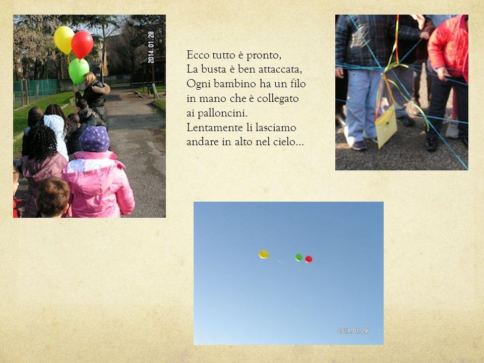 Ecco tutto è pronto, La busta è ben attaccata, Ogni bambino ha un filo. in mano che è collegato. ai palloncini.
