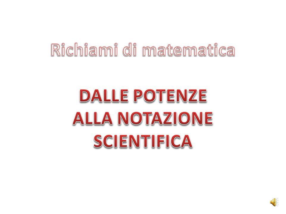 Richiami di matematica DALLE POTENZE ALLA NOTAZIONE SCIENTIFICA