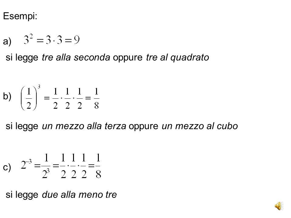Esempi: a) si legge tre alla seconda oppure tre al quadrato. b) si legge un mezzo alla terza oppure un mezzo al cubo.
