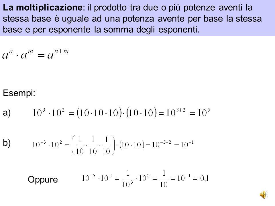 La moltiplicazione: il prodotto tra due o più potenze aventi la stessa base è uguale ad una potenza avente per base la stessa base e per esponente la somma degli esponenti.