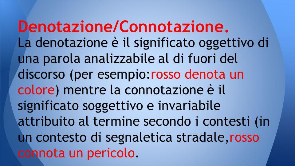 Denotazione/Connotazione.