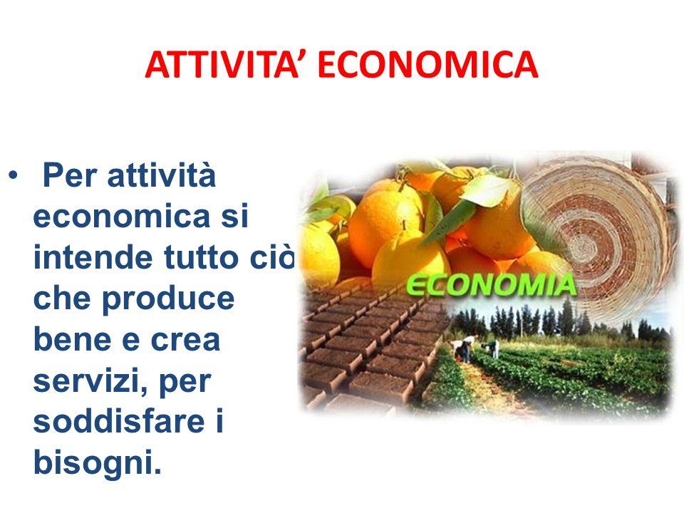 ATTIVITA' ECONOMICA Per attività economica si intende tutto ciò che produce bene e crea servizi, per soddisfare i bisogni.