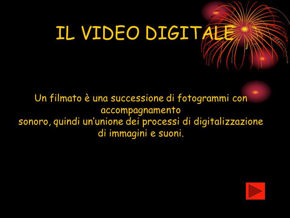 IL VIDEO DIGITALE Un filmato è una successione di fotogrammi con accompagnamento. sonoro, quindi un'unione dei processi di digitalizzazione.