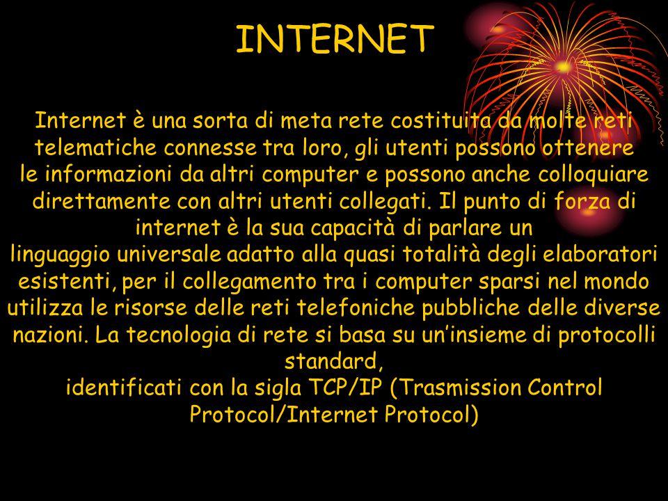 INTERNET Internet è una sorta di meta rete costituita da molte reti