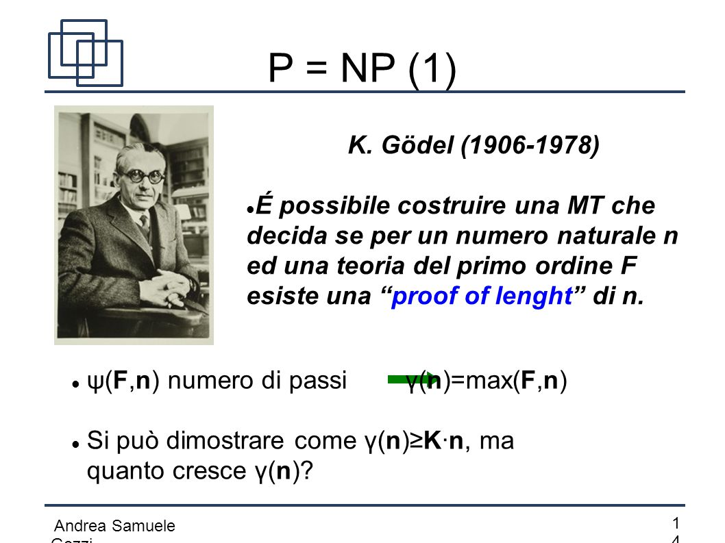 P = NP (1) K. Gödel (1906-1978)