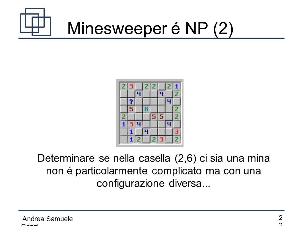 Minesweeper é NP (2) Determinare se nella casella (2,6) ci sia una mina non é particolarmente complicato ma con una configurazione diversa...