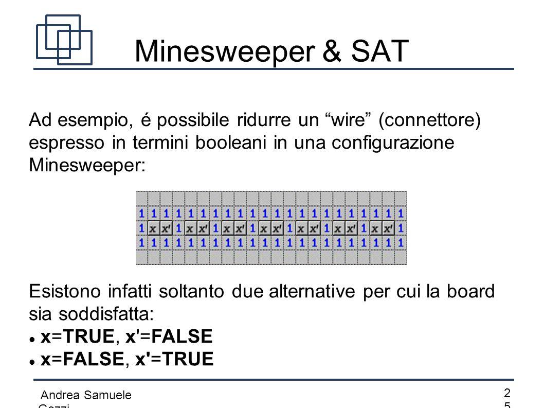 Minesweeper & SAT Ad esempio, é possibile ridurre un wire (connettore) espresso in termini booleani in una configurazione Minesweeper: