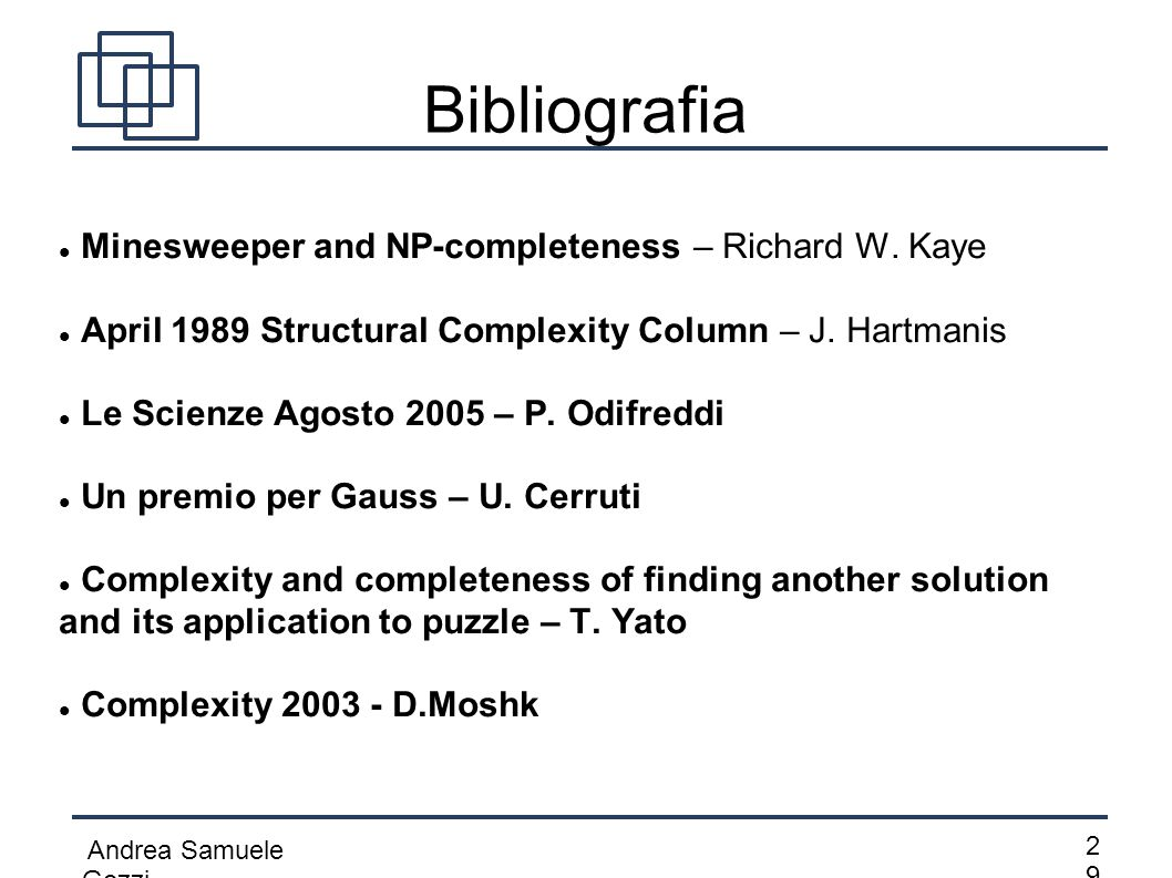 Bibliografia Minesweeper and NP-completeness – Richard W. Kaye