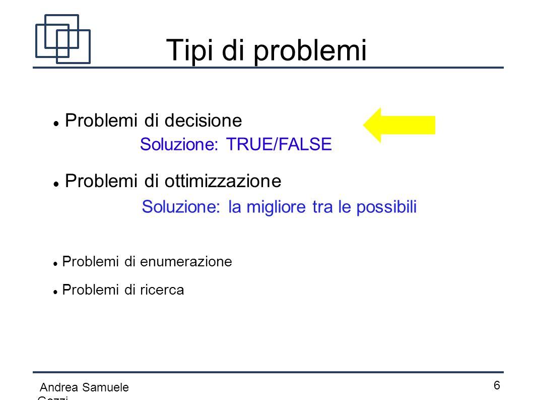 Tipi di problemi Problemi di decisione Problemi di ottimizzazione