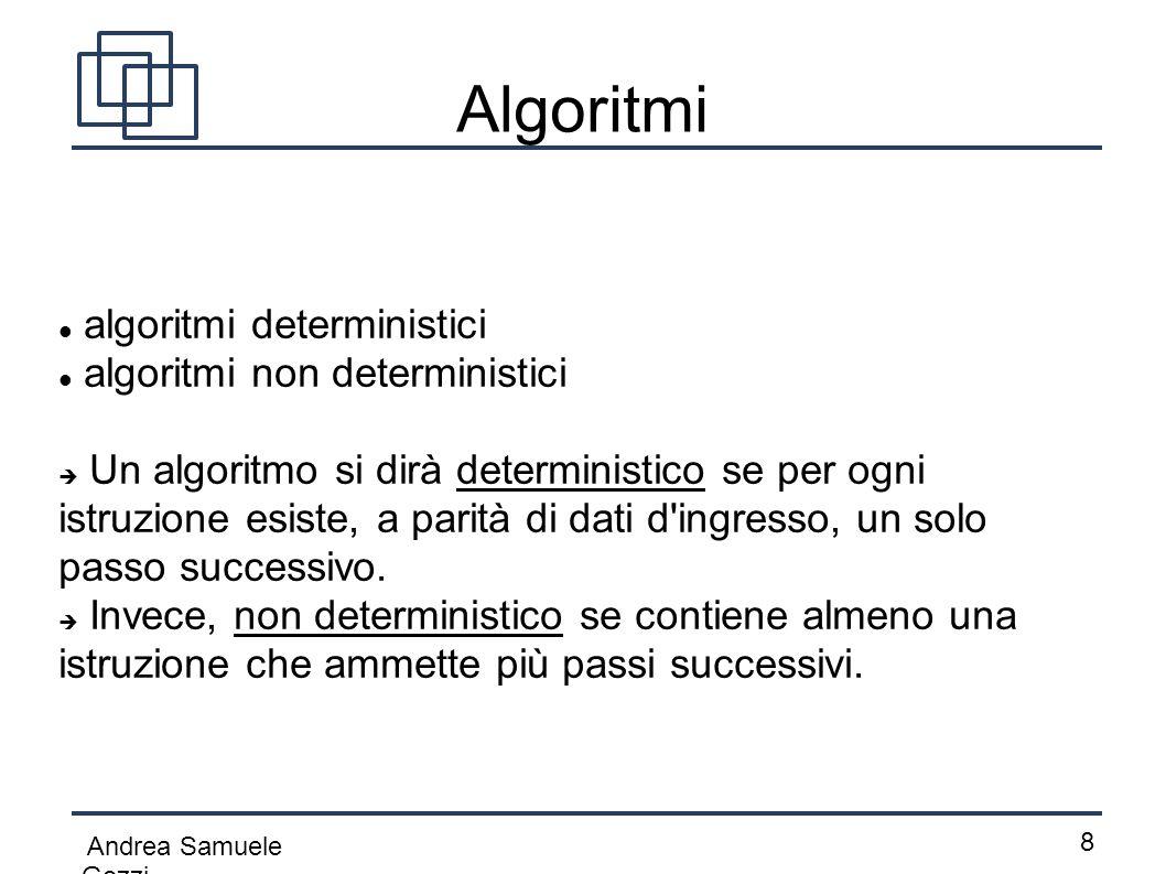 Algoritmi algoritmi deterministici algoritmi non deterministici