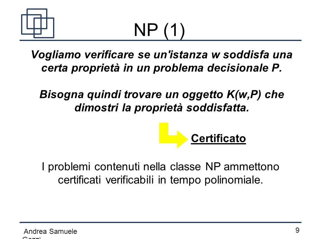NP (1) Vogliamo verificare se un istanza w soddisfa una certa proprietà in un problema decisionale P.