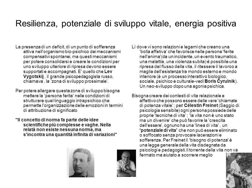 Resilienza, potenziale di sviluppo vitale, energia positiva