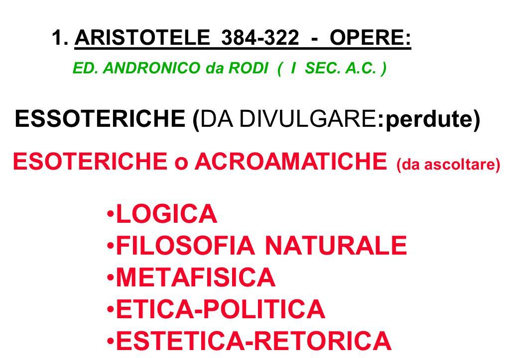 LOGICA FILOSOFIA NATURALE METAFISICA ETICA-POLITICA ESTETICA-RETORICA