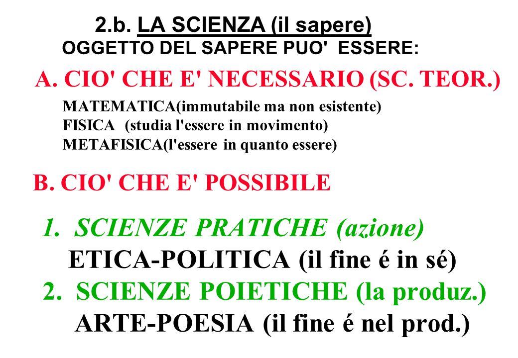2.b. LA SCIENZA (il sapere)