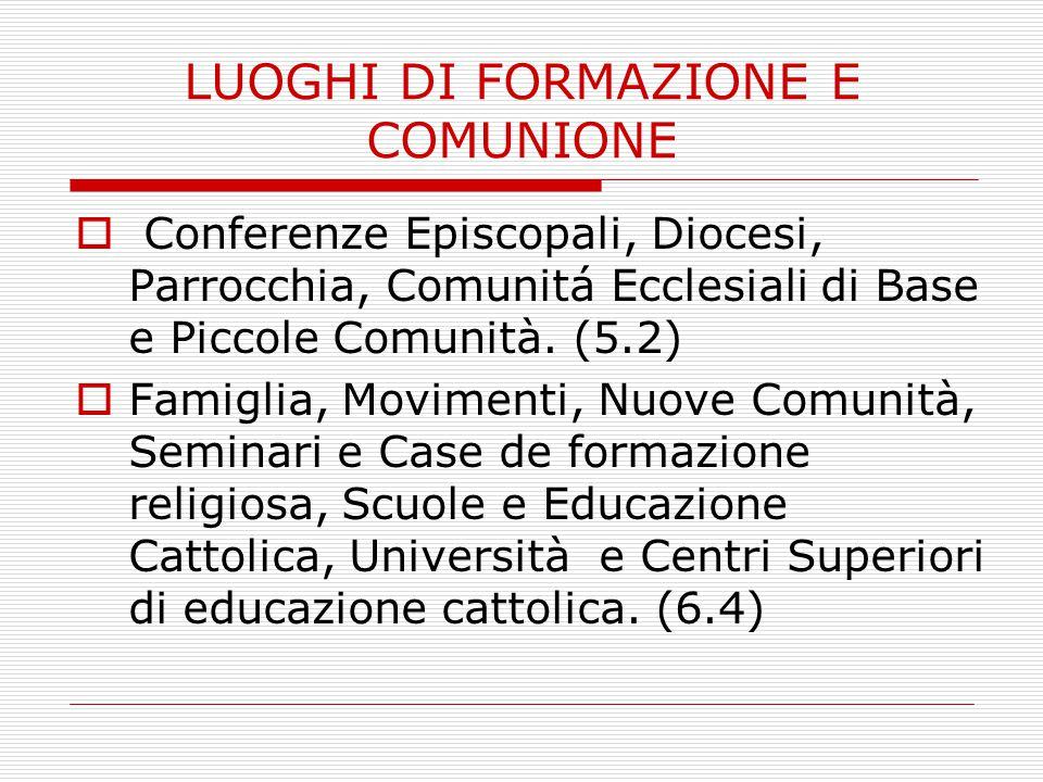LUOGHI DI FORMAZIONE E COMUNIONE