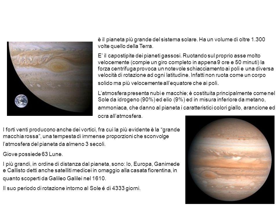 Il pianeta Giove. è il pianeta più grande del sistema solare. Ha un volume di oltre 1.300 volte quello della Terra.