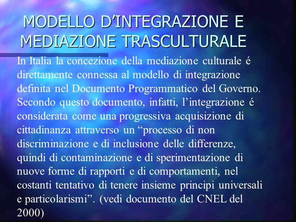 MODELLO D'INTEGRAZIONE E MEDIAZIONE TRASCULTURALE