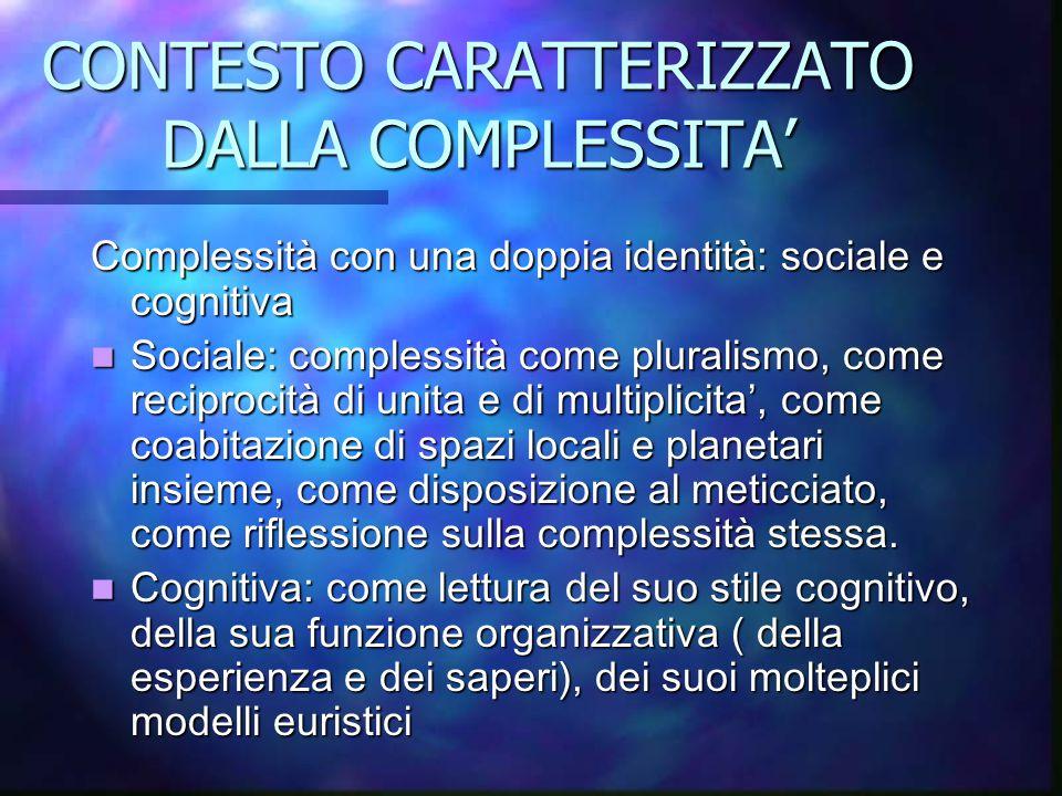 CONTESTO CARATTERIZZATO DALLA COMPLESSITA'