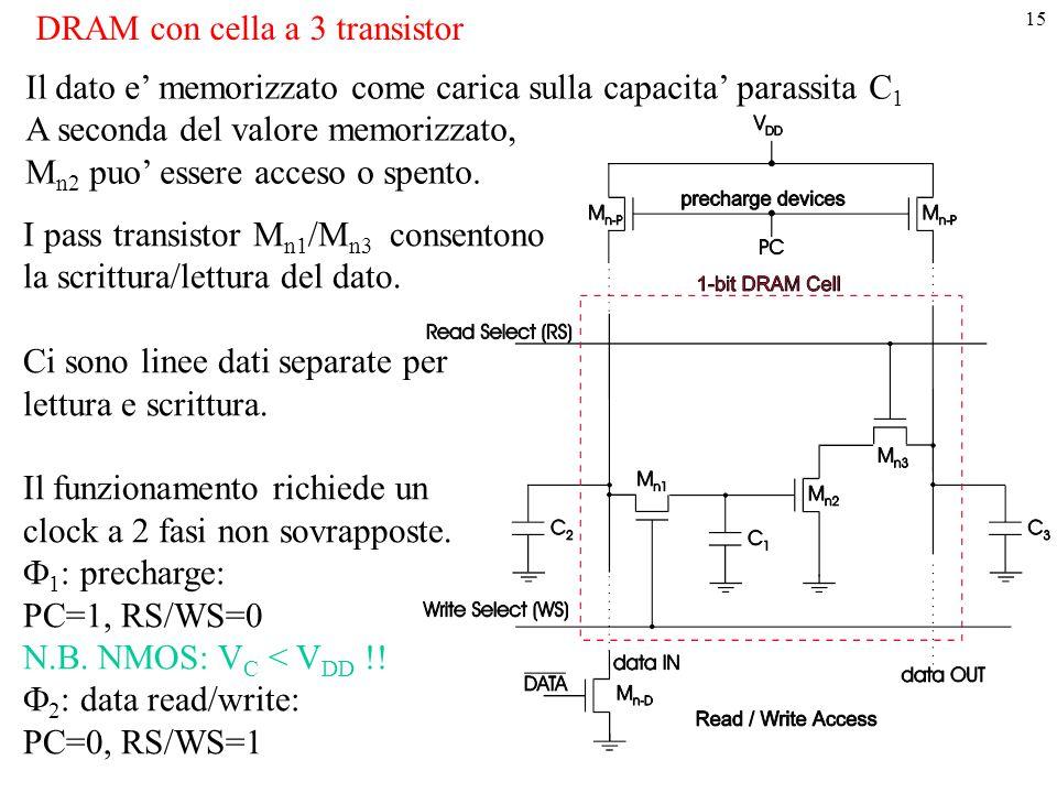 DRAM con cella a 3 transistor