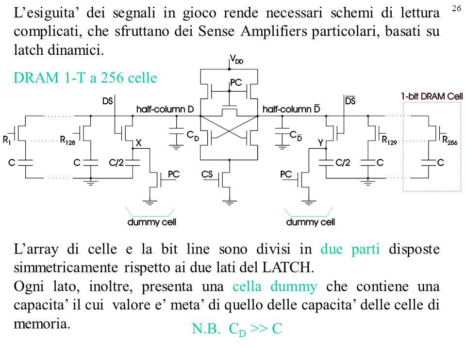 L'esiguita' dei segnali in gioco rende necessari schemi di lettura complicati, che sfruttano dei Sense Amplifiers particolari, basati su latch dinamici.